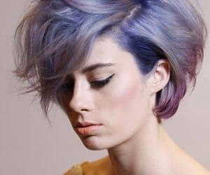 hair, purple, and short hair image