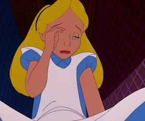 sad, alice in wonderland, and cry image
