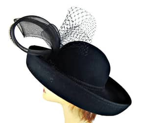 big bow, womens hat, and black hat image