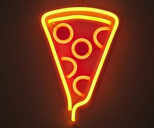 pizza, neon, and aesthetic image