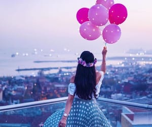 balloons, city, and flowers image
