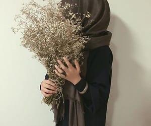 hijab, girl, and flowers image
