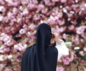 flowers, hijab, and spring image