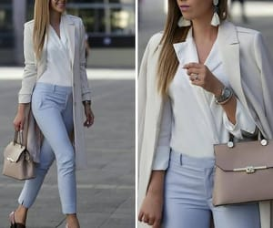 pastel outfit, white cape, and working style image