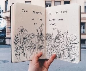 art, quotes, and flowers image