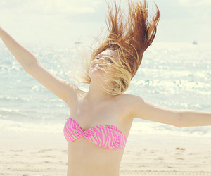 beach, blond, and girl image