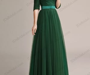 green evening dress, greenpromdress, and offtheshoulderpromgown image