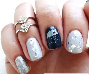 april showers, raini nails, and navy light blue nails image