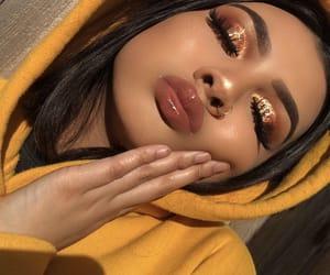 brown skin, glitter, and lip gloss image