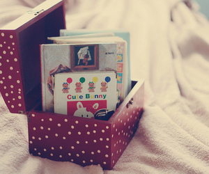 cute, book, and box image