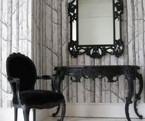 bedroom, black and white, and gothic image