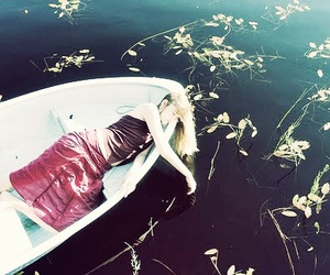 boat, leaves, and girl image