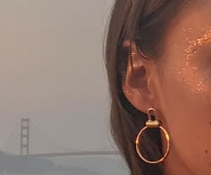 earring, glitter, and gold image
