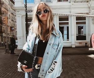 blonde, denim, and outfit image