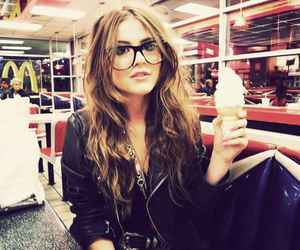 girl, glasses, and ice cream image