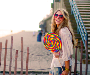 girl, lollipop, and candy image