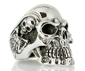 biker mens rings, mens biker rings, and gigantic skull biker ring image