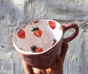 strawberry, mug, and coffee image