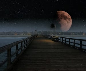 dark, moon, and pier image