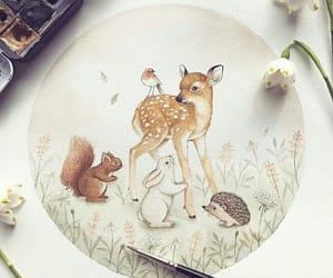 bear, flowers, and illustration image