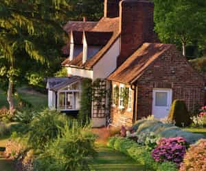 home, cottage, and flowers image