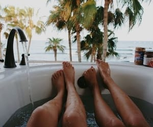 bath, friends, and beach image
