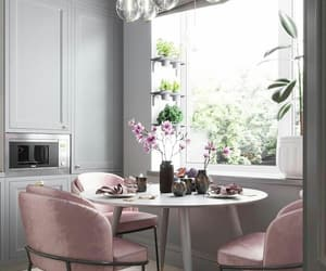 grey, kitchen, and pink image