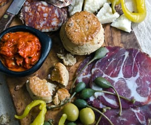 biscuit, cheese board, and dip image