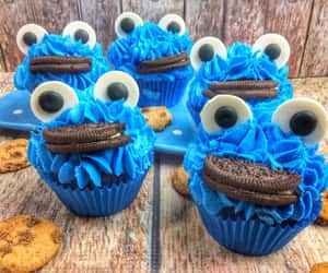 cookie monster, cupcakes, and recipe image