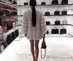 coat, girl, and fur image