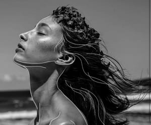 b&w, black and white, and beach image