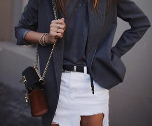 blazer, grey, and skirt image