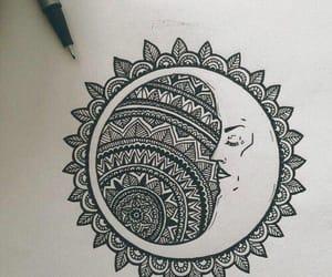 moon, drawing, and mandala image