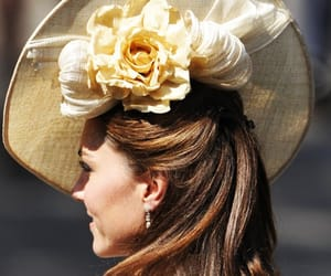 kate middleton, hat, and flowers image