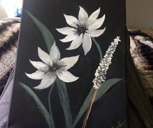 flowers, painting, and white and black image
