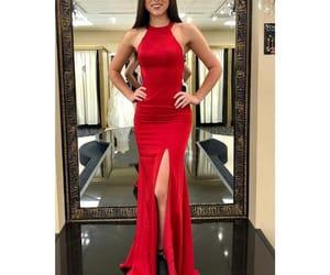 prom dress, red prom dress, and halter prom dress image