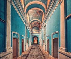 blue, abandoned, and house image
