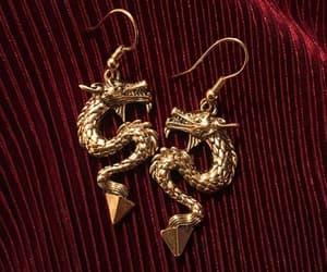 earrings, theme, and dragon image