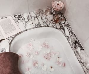 bath, flowers, and book image