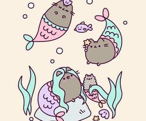 mermaid, pusheen, and cat image