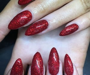 nail polish, nails, and red image