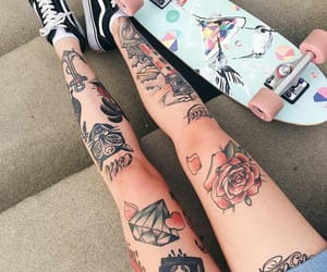 art, ink, and leg tattoo image
