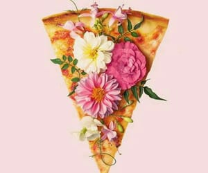 flowers, pizza, and food image