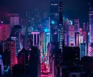 city, neon, and night image
