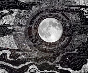 moon, art, and black and white image