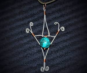 etsy, wire wrapped, and turquoise pendant image
