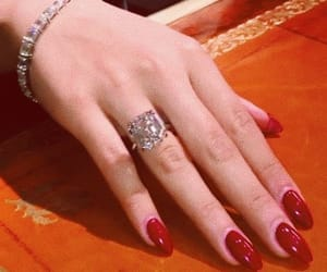 beauty, red nails, and ring image