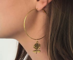 gold, rose, and earrings image
