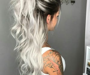 hair, long, and platinado image
