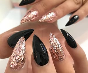 black, gold, and nails image